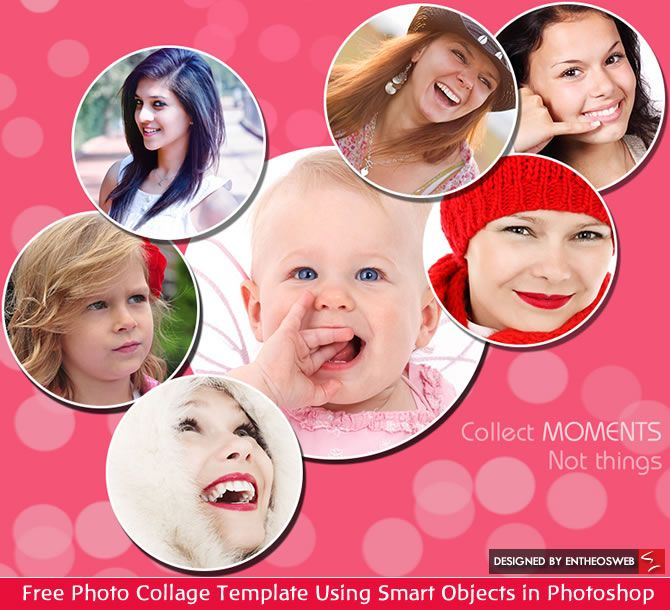 Free Photo Collage Template Using Smart Objects in Photoshop Entheos