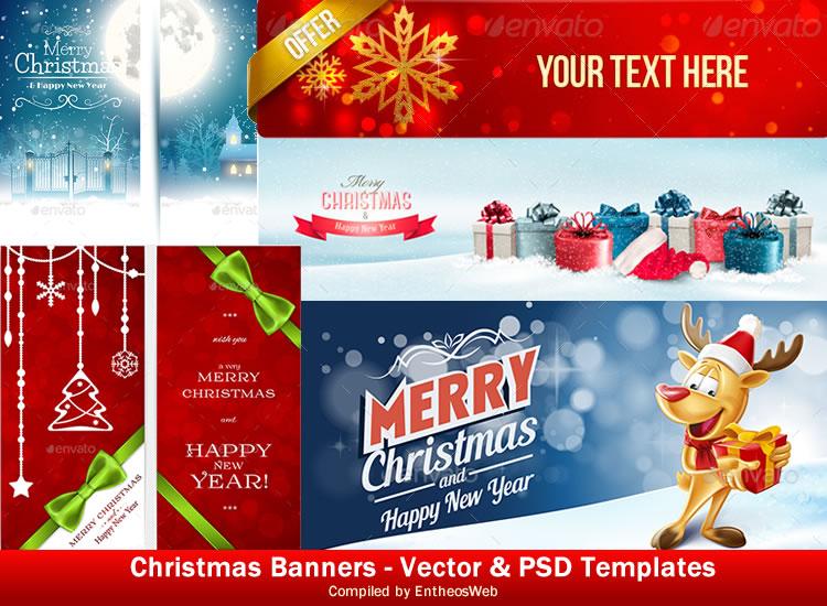 Christmas Banners \u2013 Vector  PSD Templates Entheos