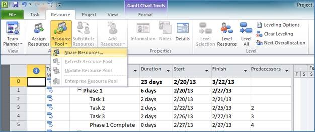 Share a Resource Pool Across Multiple Projects in Microsoft Project