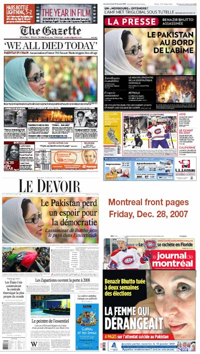 Montreal front pages - Dec. 28, 2007