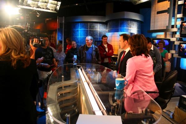 Todd van der Heyden and Mutsumi Takahashi at the anchor desk
