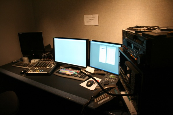 An editing booth