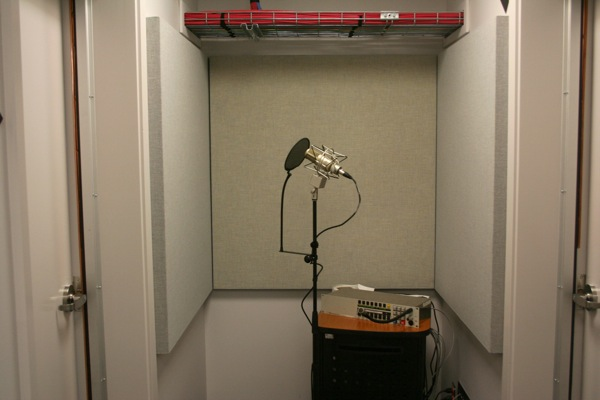 A microphone sits at the end of a hallway. I'm told it's directional enough that it doesn't pick up noise from adjacent rooms