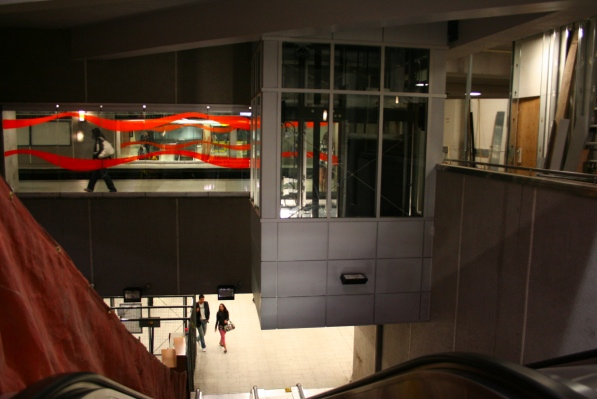 An elevator at Berri sits just above a recently reopened escalator.