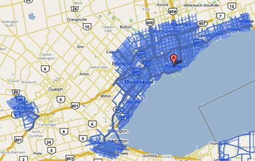 Google Street View map for Toronto/Hamilton and Kitchener