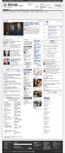 Really long Le Devoir homepage