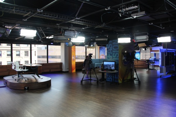 The studio space as seen from the northwest corner (the video wall)