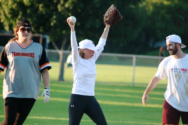 Debra Arbec celebrates getting an out at second base.