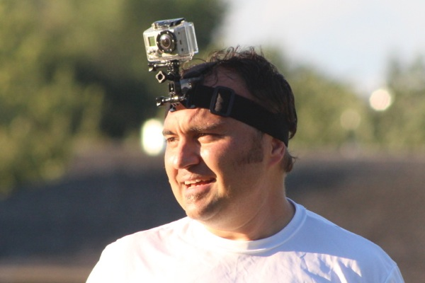 Pitcher Jason Boychuk wears a GoPro camera for the first inning.