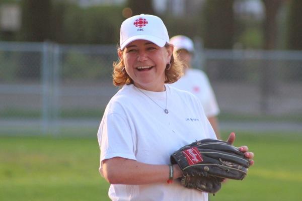 Lauren McCallum having a ball (GET IT?) playing third base.