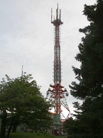 The CBC's Mount Royal antenna tower hosts most major FM and TV transmitters in the city.