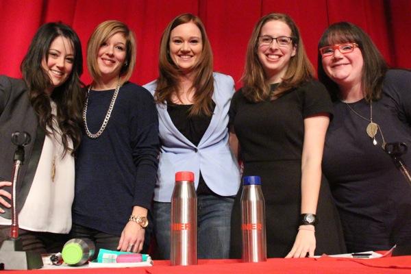 Women in sports broadcasting, from left: Amanda Stein (TSN 690), Andie Bennett (CBC), Jessica Rusnak (TSN 690), Kelly Greig (Sportsnet), Robyn Flynn (TSN 690)