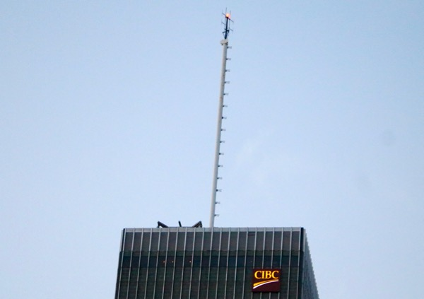CKOI's current antenna atop the CIBC building