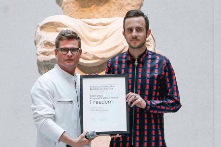BERLIN, GERMANY - JULY 06: Torsten Hochstetter and Ulf Michael Brauner during the award ceremony European Fashion Award FASH 2015 by SDBI at Neues Museum Berlin on July 6, 2015 in Berlin, Germany. (Photo by Isa Foltin/Getty Images for FASH2015_SDBI.DE)