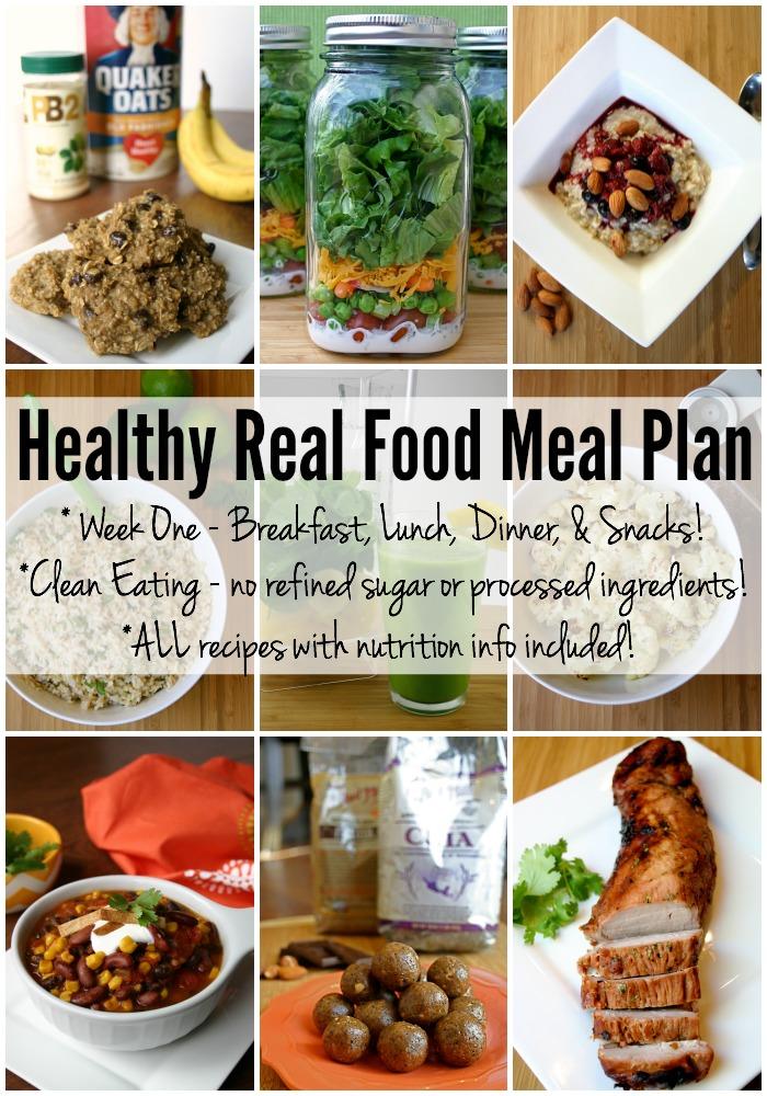 Healthy Real Food Meal Plan - Week 1 - Feel Great in 8 Blog - breakfast lunch and dinner meal plan for a week