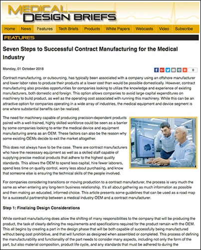 Medical Industry Contract Manufacturing Success featured in Medical