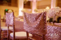 Details: Chair caps in blush sequin