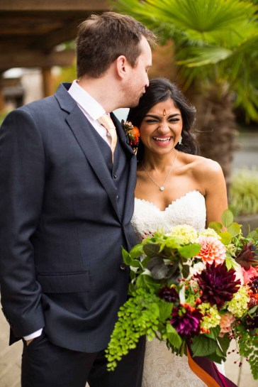 Flora Nova Design Seattle - Colorful Indian Wedding at the Edgewater Hotel. Dahlia Bouquet with Ribbon Streamers