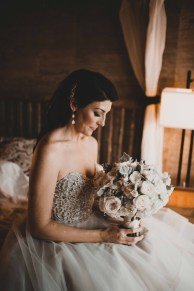 Flora Nova Design Seattle - Luxurious Winter Wedding at the Edgewater Hotel. White and Grey Bouquet