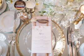 Flora Nova Design Seattle - Orchid Wedding at the Rainier Club. Gold Charger Plates