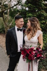 Flora Nova Design Seattle Luxe JM Cellars Wedding. Moody Bridal Bouquet, Burgundy, Red, Black, Amaryllis, Orchid, Garden Rose, Gothic