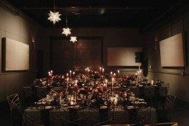 Flora Nova Design Seattle Luxe JM Cellars Wedding. Reception Tables: Taper Candles, Romantic, Moody, Gothic, Houndstooth Linens, Leather Table Runners