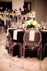 Flora Nova Design Seattle - Contemporary Black and White Seattle Art Museum Wedding Reception. Ghost Chairs.