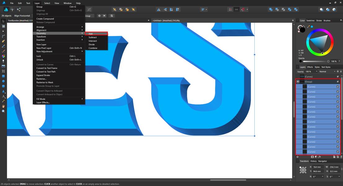 Create 3D Type with Affinity Designer The Font Bundles Blog