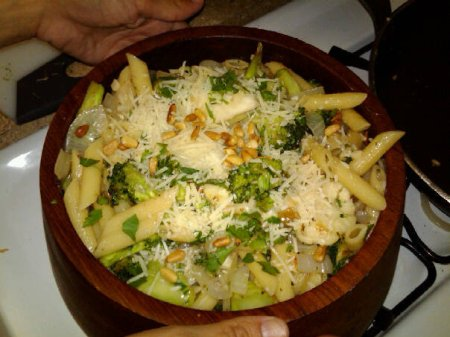 Sicilian Broccoli and Cauliflower Pasta topped with parmesan and toated pine nuts