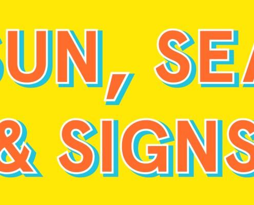 Sun, sea & signs illustration