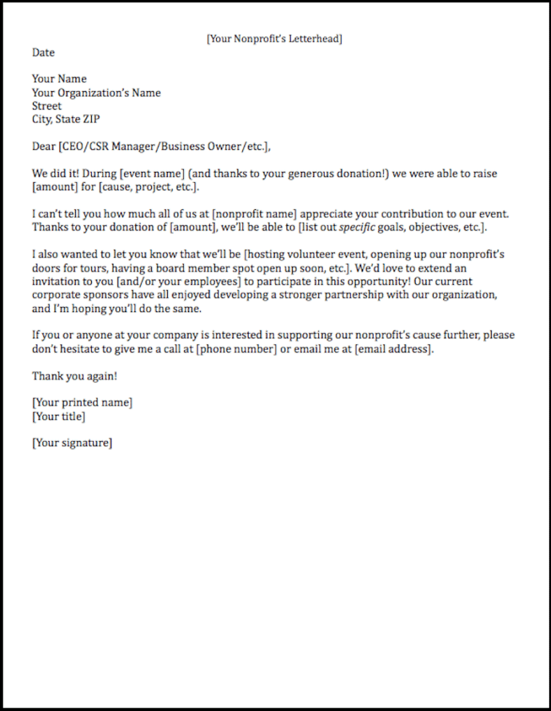 sponsorship letter thank you template free resume templates