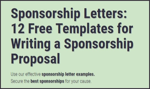 Sponsorship Letters Write Great Proposals with 12 Templates - free sponsorship letter