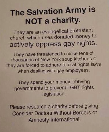 Salvation army discriminates against gays