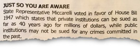 A church bulletin called out Nick Miccareli for his support of a bill to allow victims of sexual abuse more time to sue their abusers.