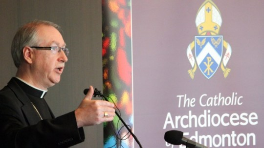 The archbishop of Edmonton Richard Smith is shown in a handout photo. Smith has previously defended the church's decision to refuse funerals to some Albertans who have chosen assisted dying.