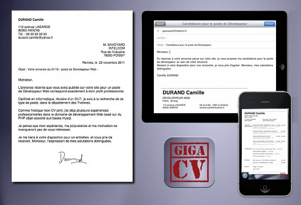 application cv et lettre de motivation android
