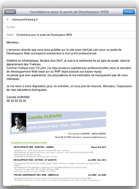 exemple mail envoie cv lettre motivation