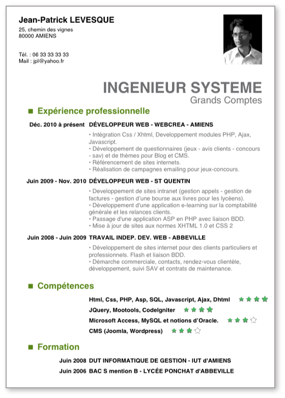 cv post bac alternance informatique