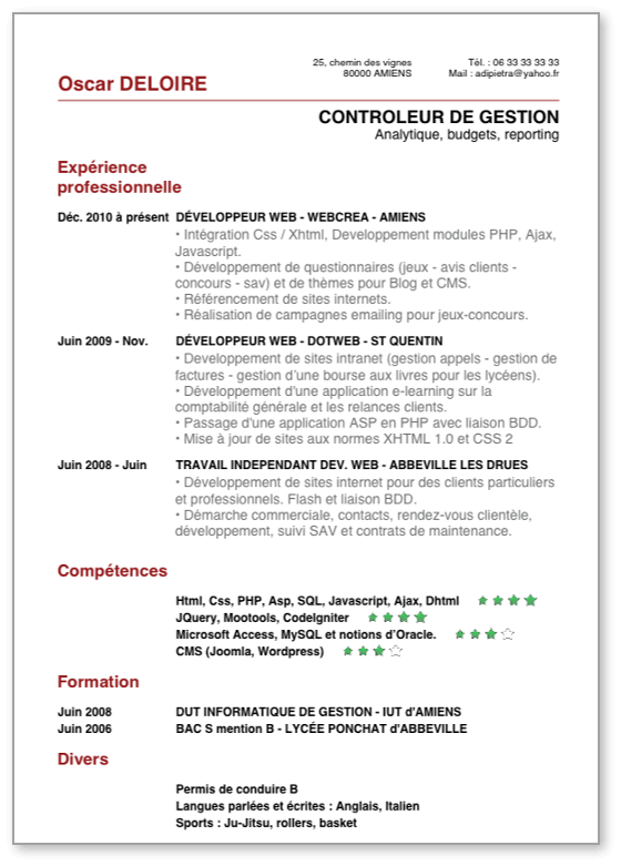 faire son cv sur iphone