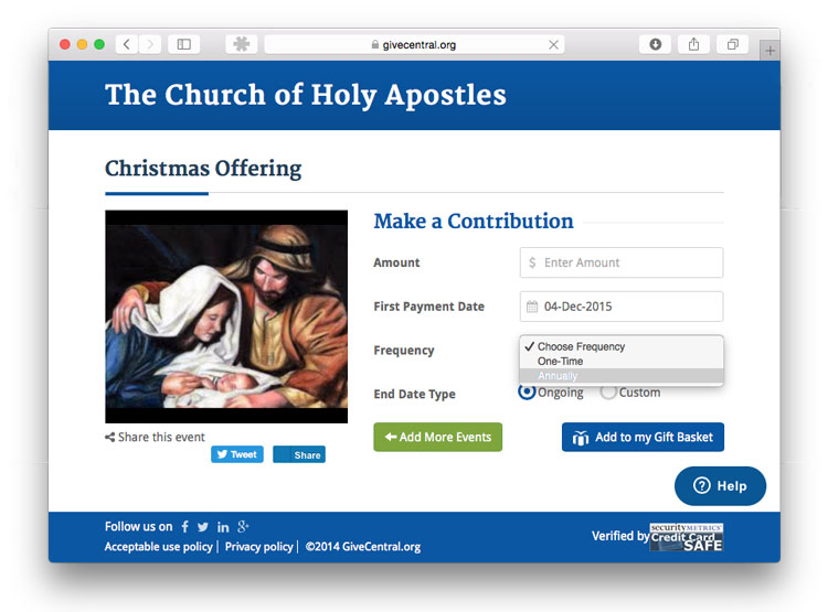 screen shot of a giving page with Annual giving selected