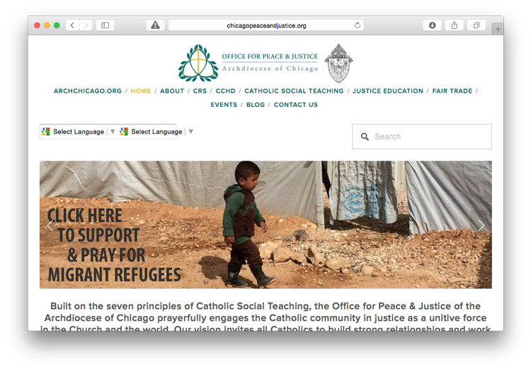 screen shot of the Office for Peace and Justice home page with an image of a refugee child