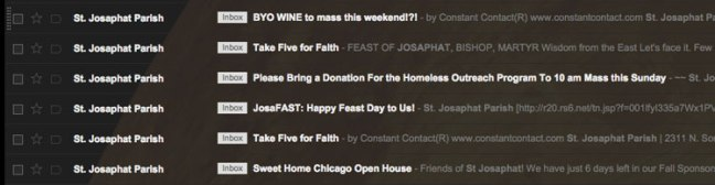 screen shot of a Google inbox with messages from St. Josaphat Church