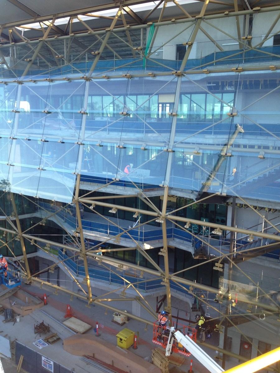Installation progress on the glass screen.