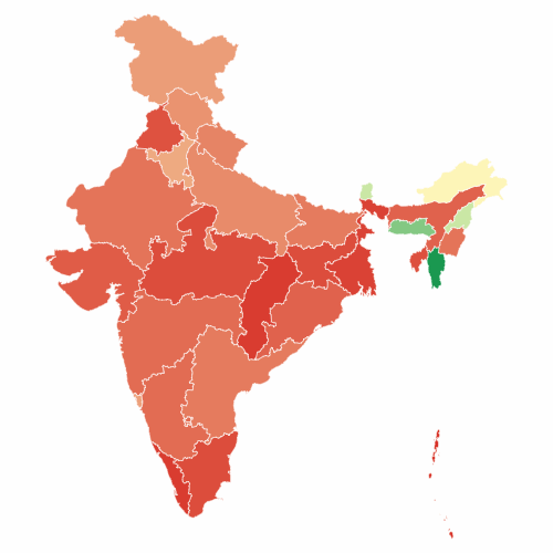 Percentage of crorepati candidates by state