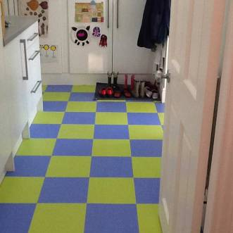 Blue & green checkerboard floor