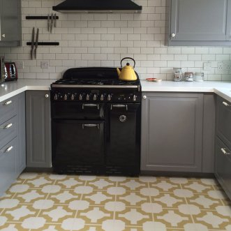 Gold coloured kitchen floor