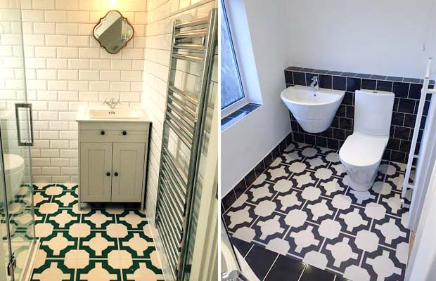 Black and white stylish vinyl bathroom floor