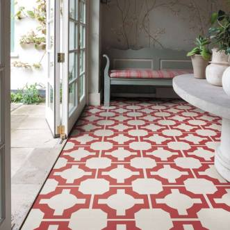 red deisgner floor in a conservatory