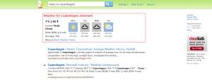 DuckDuckGo shows the weather in Copenhagen