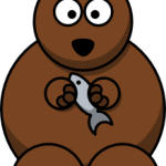 cute, adorable cartoon bear with fish and big eyes, likes honey